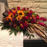 Rustic Splendor Casket Spray of Funeral Flowers
