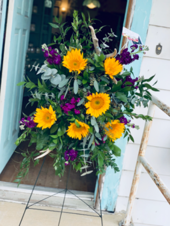 Rustic Sunflower Funeral Spray
