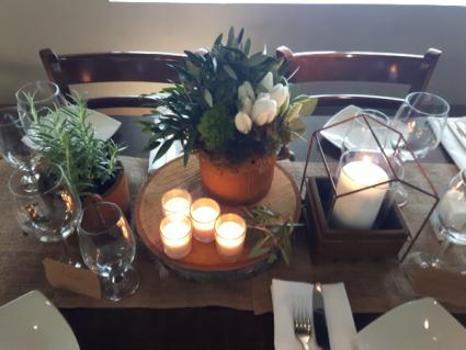 Rustic Tulip and Herb  Floral Arrangement