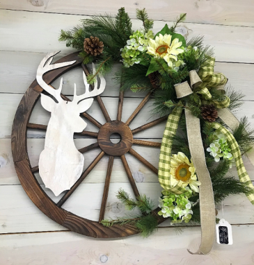 Rustic Wagon Wheel Wreath
