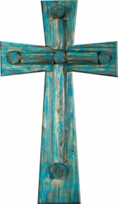 RUSTIC WOOD WALL CROSS TURQUOISE