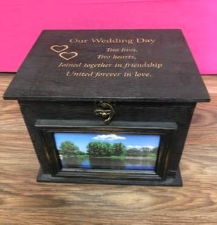 Rustic wooden box Personalized engraved gift