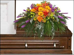 RADIANT MEDLEY CASKET SPRAY Funeral Flowers in Burbank, CA | LA BELLA FLOWER & GIFT SHOP