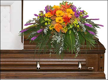 RADIANT MEDLEY CASKET SPRAY Funeral Flowers