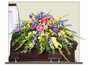 RESTFUL GARDEN CASKET SPRAY of Funeral Flowers in Burns, OR | 4B Nursery And Floral