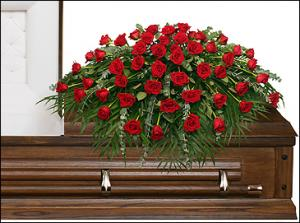 MAJESTIC RED CASKET SPRAY of Funeral Flowers in Oxford, CT | Evelyn Jane Florist