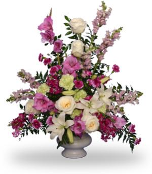 MAGENTA SUNSET URN Funeral Flowers in Gig Harbor, WA | GIG HARBOR FLORIST TM- FLOWERS BY THE BAY LLC