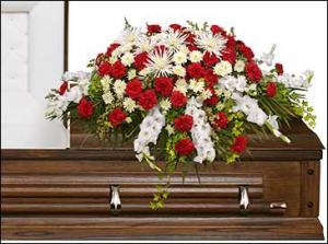 GRACEFUL RED & WHITE CASKET SPRAY  Funeral Flowers in Ridgecrest, CA | THE FLOWER SHOPPE