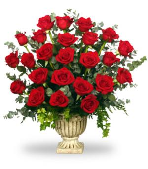 Regal Roses Urn Funeral Flowers in Somerville, MA | BOSTONIAN FLORIST