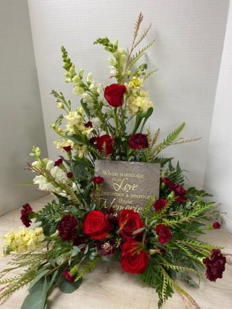 S100 - Memorial Stone with Roses Arrangement