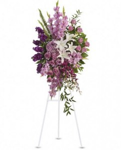 Sacred Garden Spray white and lavender standing spray in Bethel, CT | BETHEL FLOWER MARKET OF STONY HILL