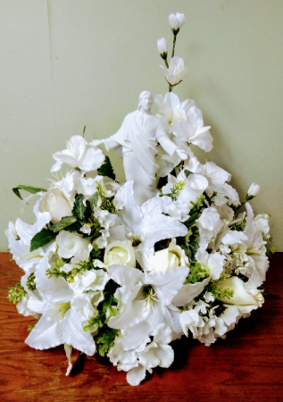 Sacred Love & Grace Silk Arrangement With Porcelain Figurine