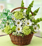 Saint Patrick's Day Bouquet Basket Arrangement