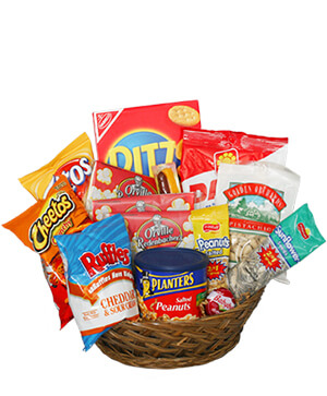 SALTY SNACKS BASKET Gift Basket in Venice, FL | GARDEN OF EDEN FLORIST