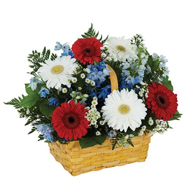 Salute To The Red, White & Blue Basket Arrangement