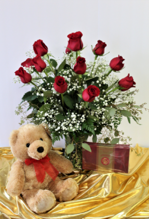 Sandy's Sweetheart Special Dozen Roses, Teddy Bear & Chocolates
