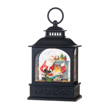 Santa by Fireplace Lantern