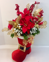 Santa Claus Is Coming To Town Artificial Arrangement In Boot