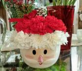 Santa Hat Bowl Fresh flower bowl