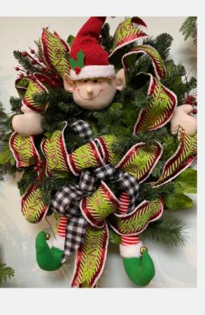Santa helper  Front Door silk wreath