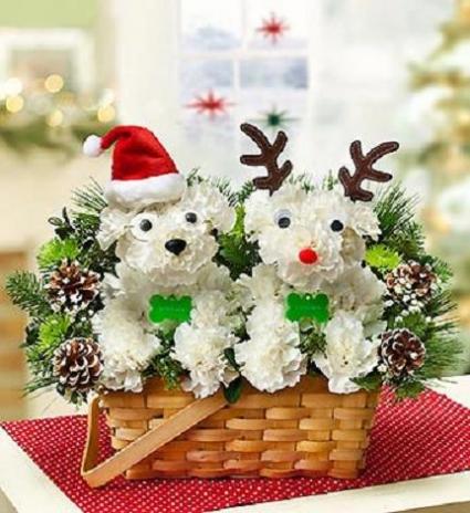 Santa Paws and His Reindeer Basket