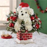 Santa Paws Chimney Floral Arrangement
