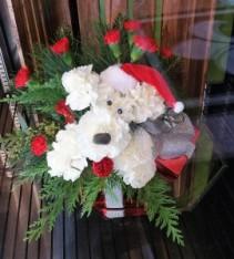 Santa Pup For Christmas Flower Arrangement