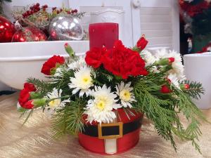 Santa Tin Christmas Arrangement in Berwick, LA | TOWN & COUNTRY FLORIST & GIFTS, INC.