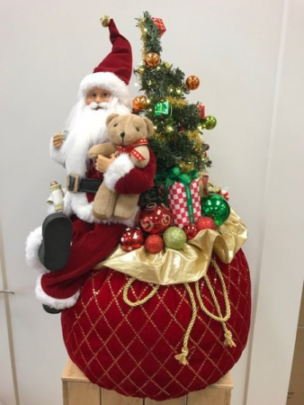 Santa with light up tree and bag