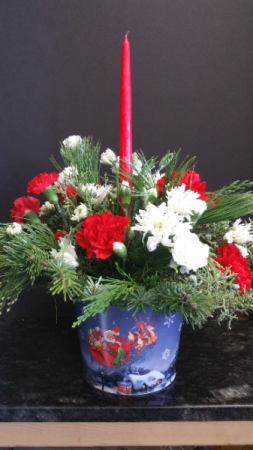 Santa's flight table centerpiece Christmas  in Richmond, VA | WG Miller Creations Florist & Gift Shop