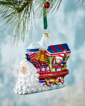 Santa's on track for Christmas  Christopher Radko Ornament