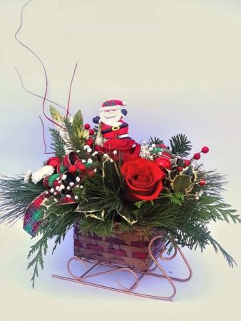 Santa's Sleigh Christmas arrangement