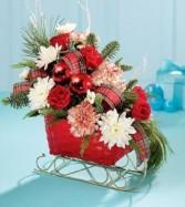 Santa's Sleigh  *custom floral arrangement in a sleigh