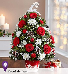 Santa's Sleigh Ride, Floral Tabletop Tree 1/2 off  regularly 89.99