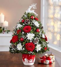 Santa's Sleigh Ride Holiday Flower Tree 1-800 FLOWERS ARRANGEMENT