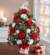 Santa's Sleigh Ride Holiday Flower Tree Christmas