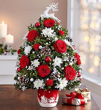 Santa's Sleigh Ride Holiday Flower Tree Christmas