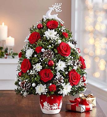 Santa's Sleigh Ride™ Holiday Flower Tree® Arrangement