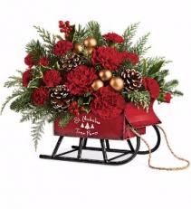 Santa's Vintage Sleigh Bouquet Christmas Arrangement