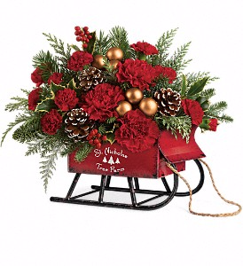Santa's Vintage Sleigh Bouquet Christmas Arrangement in Winnipeg, MB | CHARLESWOOD FLORISTS