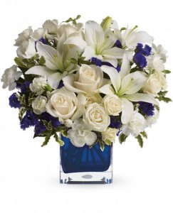 Sapphire Skies Bouquet Cube Keepsake  in Cape Coral, FL | ENCHANTED FLORIST OF CAPE CORAL