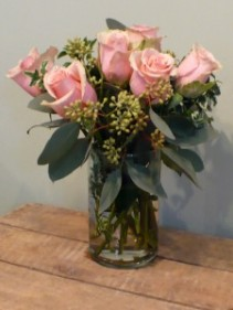 "Sasha Soft Pink Roses in Cylinder 15""tall"