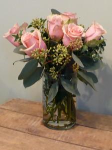 "Sasha Soft Pink Roses in Cylinder 15""tall in Mechanicsburg, PA | Garden Bouquet"