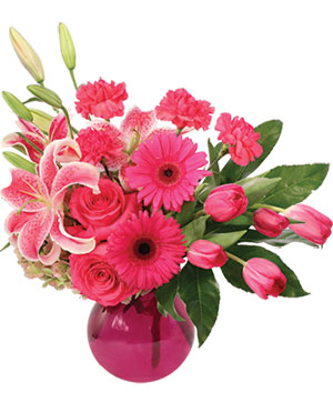 Sassy N' Pink Flower Arrangement in Hopewell Junction, NY | Bouquets By Christine