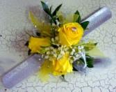 Sassy Yellow baby rose wrist corsage
