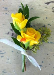 Sassy yellow spray rose boutonniere