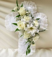 Satin Cross Casket Pillow- White Sympathy/Funeral