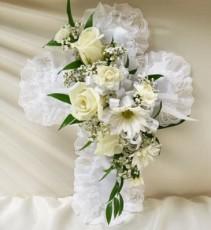 Satin Cross Casket Pillow- White Sympathy/Funeral
