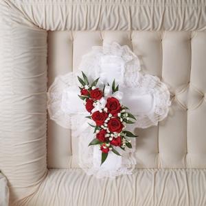 Satin Cross Casket Pillow  in Arlington, TX   Erinn's Creations Florist