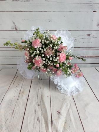 Satin Cross with Fresh Flowers